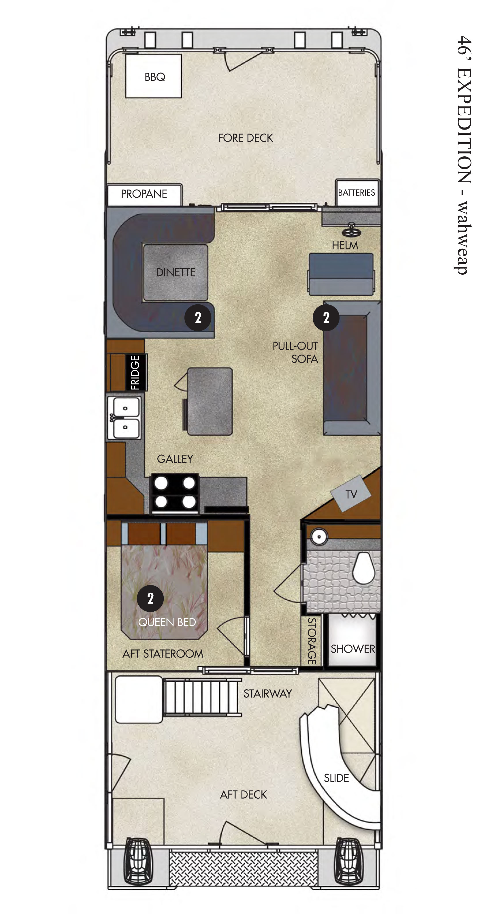 Wahweap Marina 46-ft Expedition Houseboat Floor Plan