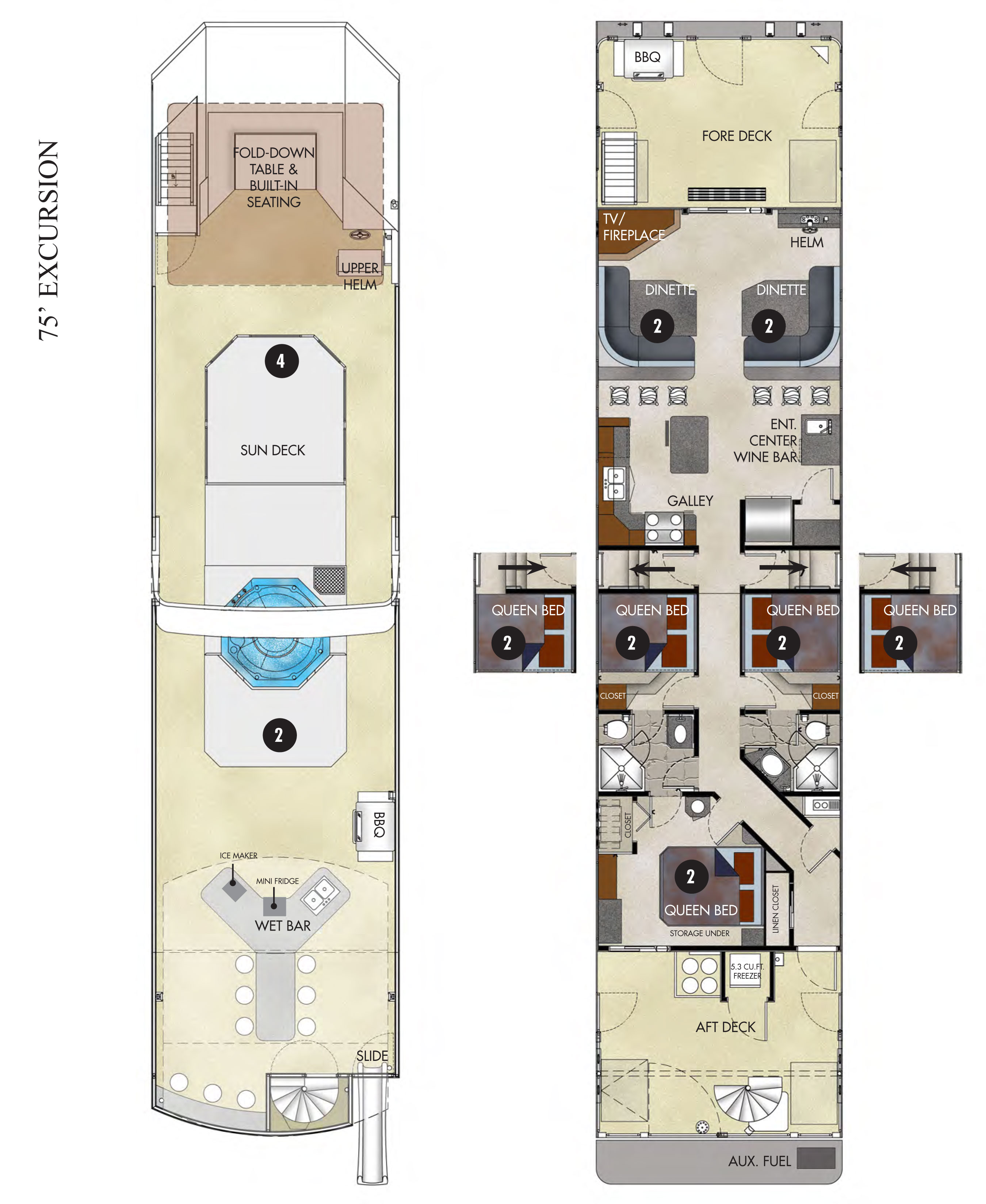 Excursion luxury houseboat rental lake powell resorts for Boat house floor plans