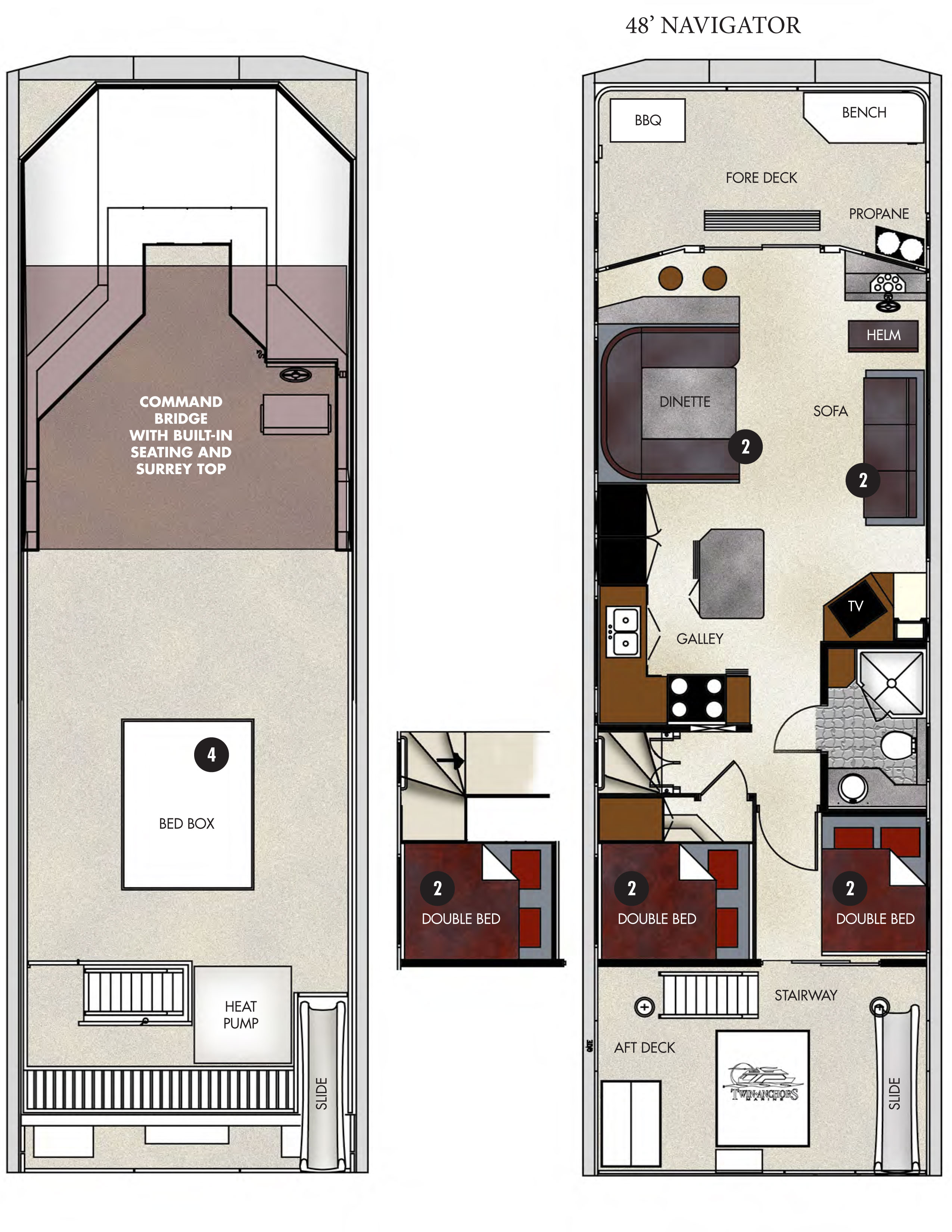 Floor plan 48 ft navigator houseboat lake powell for Lake floor plans