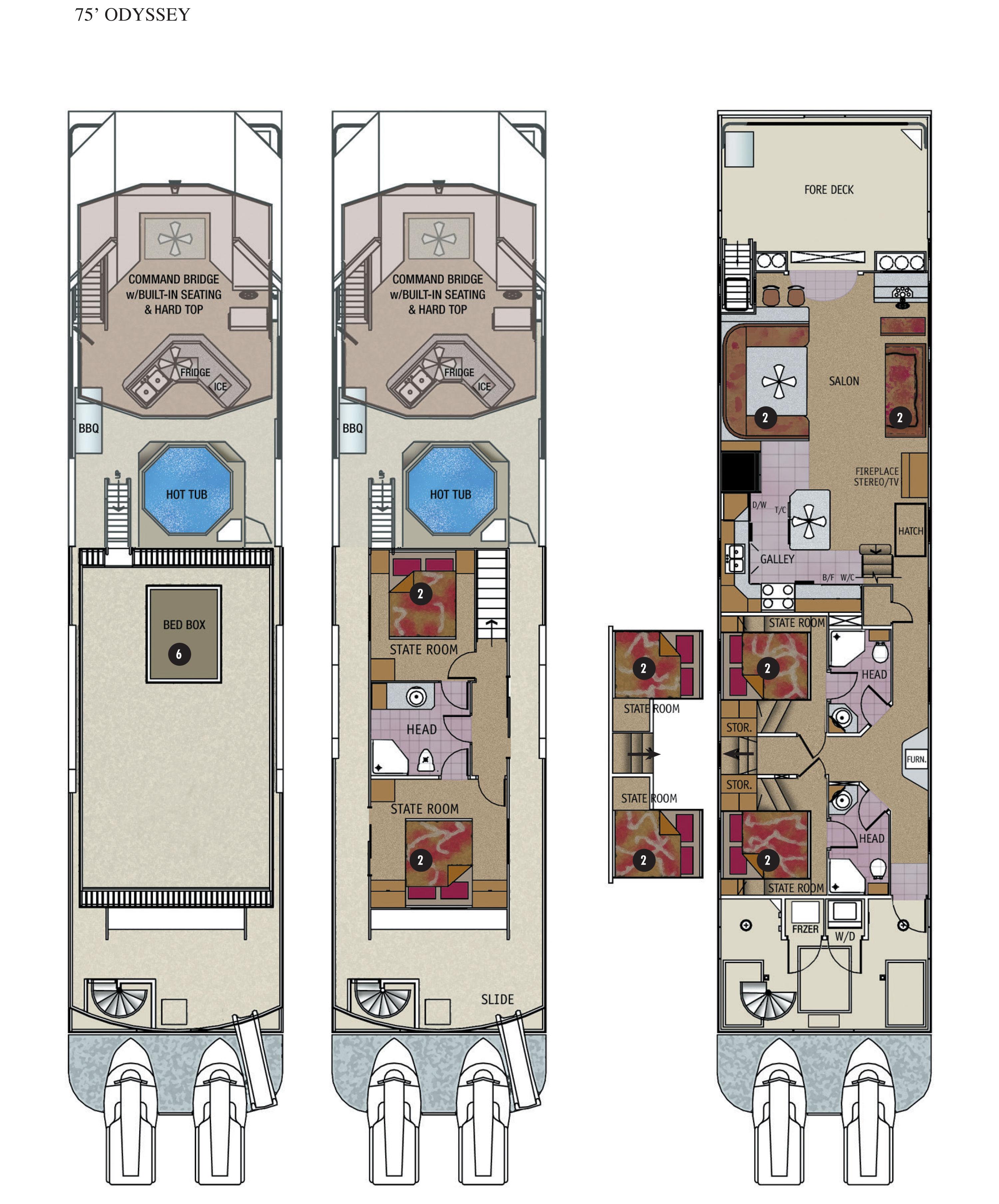 Floor Plans Luxury Lake Home: Odyssey Luxury Houseboat Rental