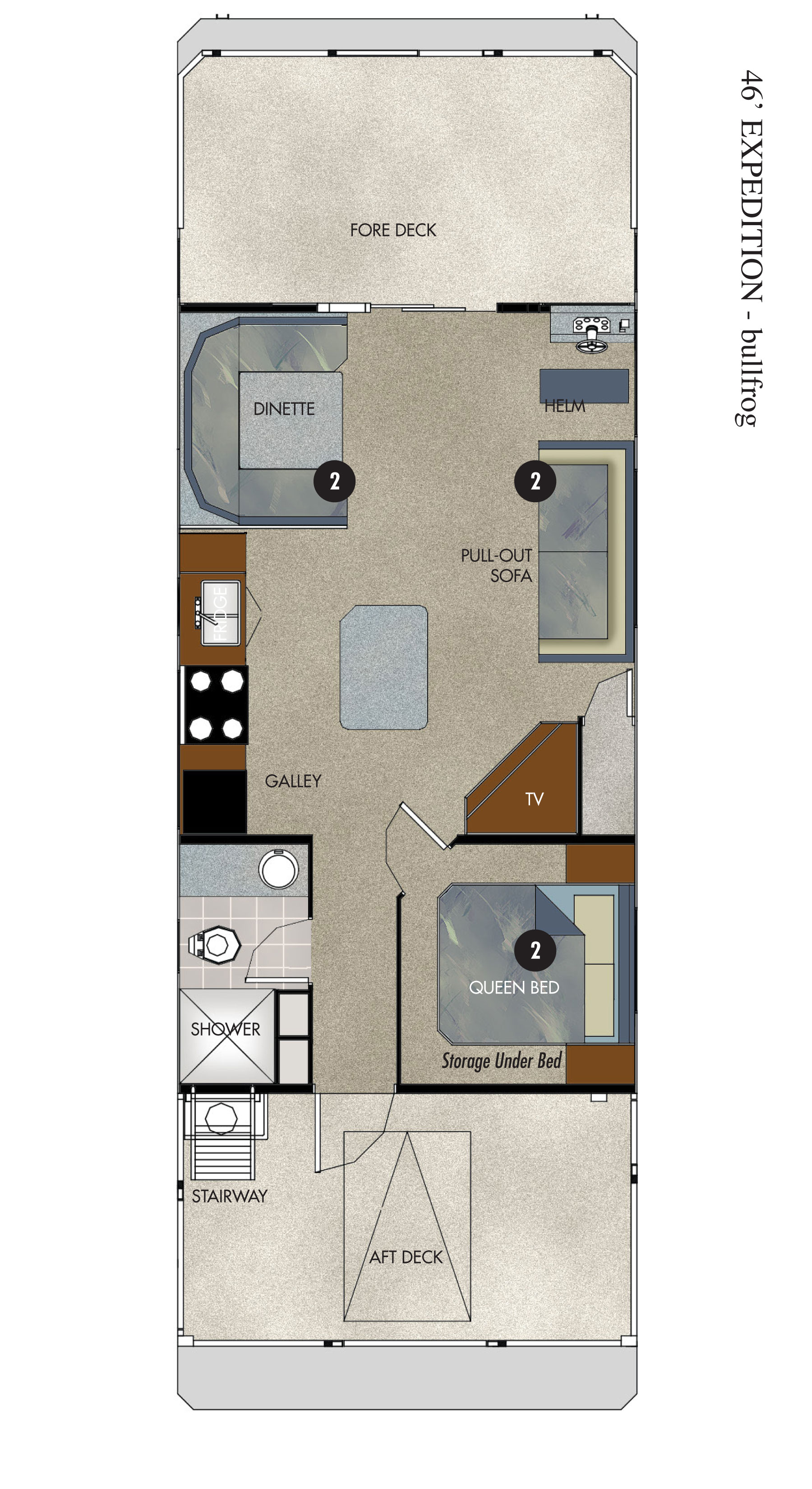 Bullfrog Marina 46-ft Expedition Houseboat Floor Plan