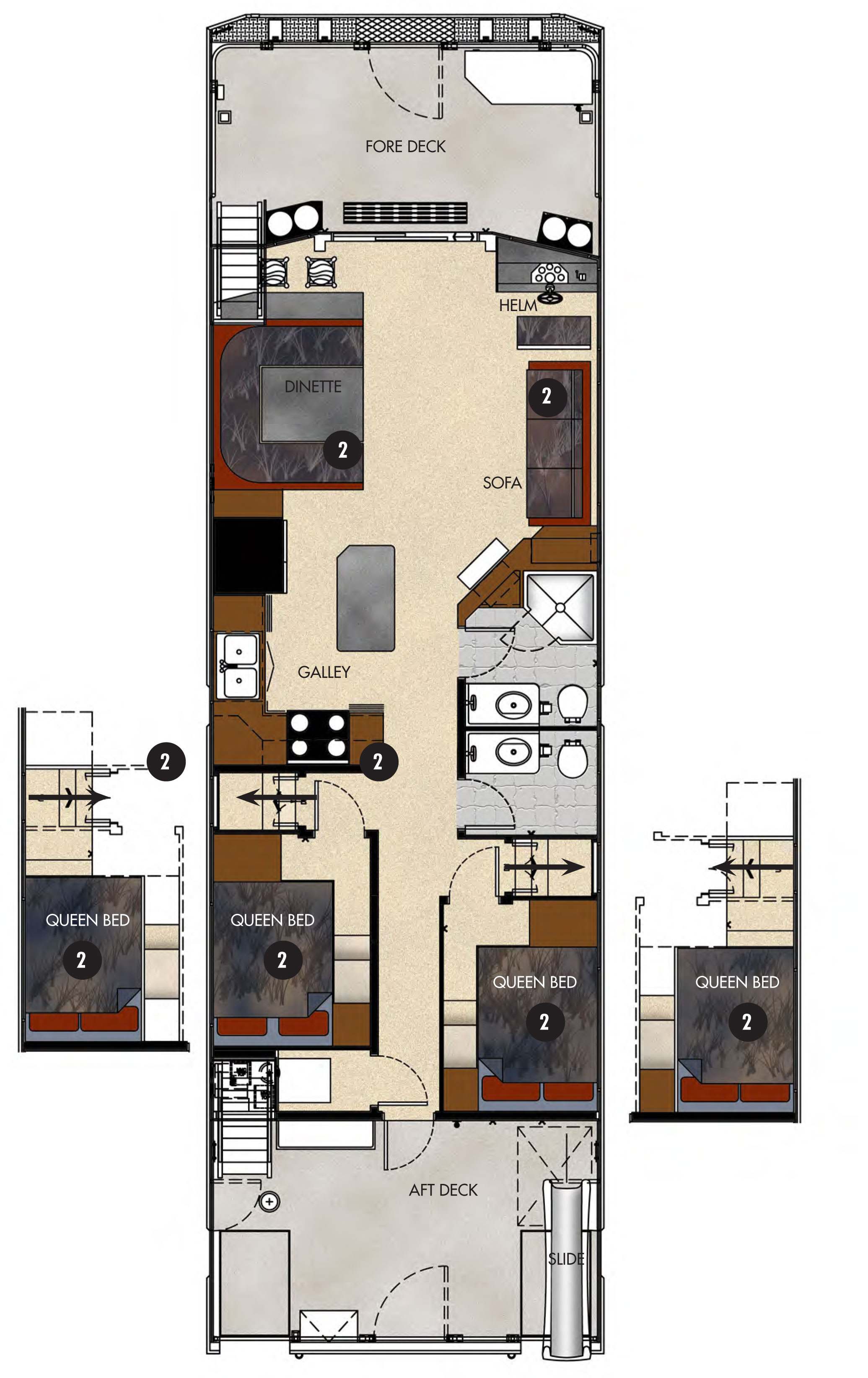 Escape luxury houseboat rental lake powell resorts for Boat floor plans